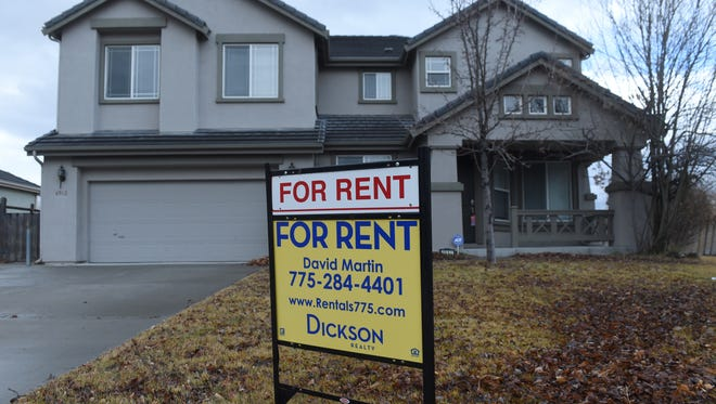 A house is advertised for rent in Wingfield Springs in Sparks on Jan. 10, 2018. Reno-Sparks real estate posted several records in 2017.