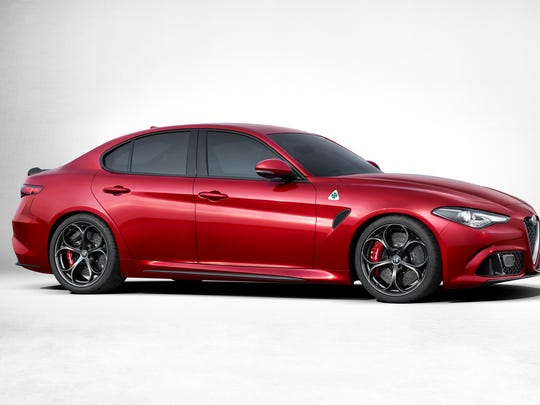 Side view of the Alfa Romeo Giulia that was revealed in Milan, Italy Wednesday.