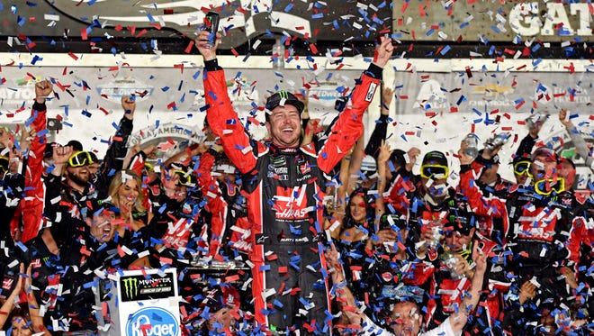 Kurt Busch celebrates winning the 2017 Daytona 500.