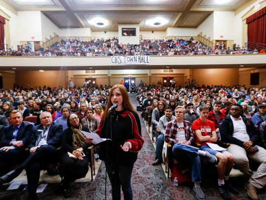 Central High School student Maddie Robb speaks directly to local and state officials at a forum regarding the issue of gun violence on Thursday, March 22, 2018. Students organized the forum in the wake of the Florida school shooting.