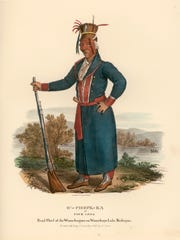 Four Legs, or O'-Check-Ka, was chief of the Ho-Chunk on Doty Island when this painting was done in 1827.