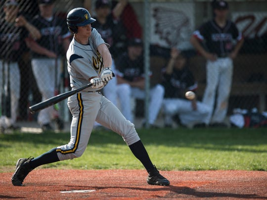 Castle's Zach Messinger bats against Harrison at the Harrison baseball field on Tuesday, May 1, 2018. Castle defeated Harrison 10-0 in five innings.