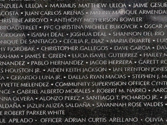 Part of the 1,554 names on the Crime Victims' Memorial Reading Garden Pavilion during the ceremony in 2016.