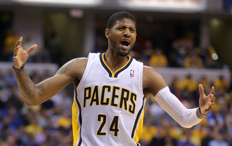 Indiana's Paul George reacts to a call during the first half of action  as the Indiana Pacers lost to the Atlanta Hawks 107-97 in game 5 of the Eastern Conference playoffs.