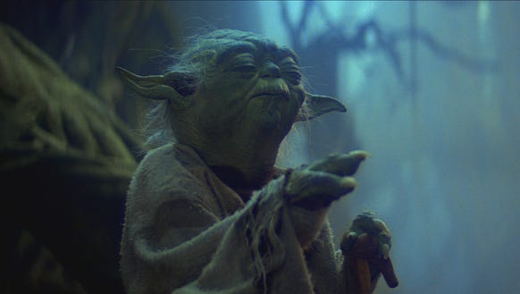 Yoda (voiced by Frank Oz) taught Luke Skywalker in