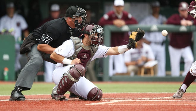 Mississippi State's Elih Marrero (9) from Miami, FL (Coral Gables Senior HS) prepares to catch a pitch in the second inning. Mississippi State and Texas A&M played a college baseball game on Saturday, April 16, 2016 at Dudy Noble Field in Starkville. (Photo by Keith Warren)