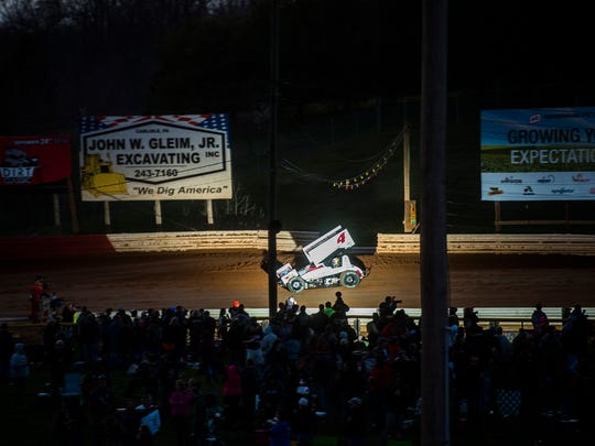 Kasey Kahne navigates turn two at Lincoln Speedway on Saturday March 26, 2016 during 410 sprint car racing.