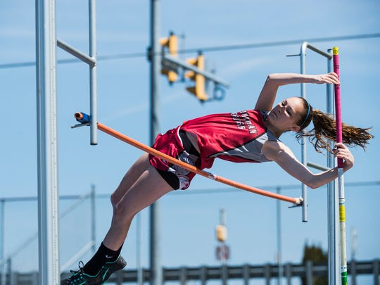 Bermudian Springs' Melana Shoop clears the bar in the girls' pole vault Saturday at Northern High School during the Arctic Blast Track and Field Invitational.