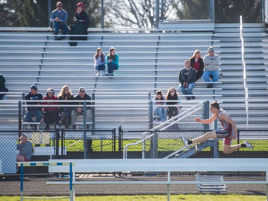 Bermudian Springs' Trevor Grim competes in boys' hurdles in April at Biglerville High School.