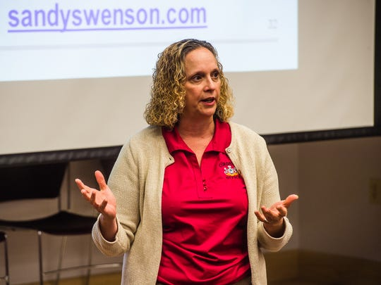 York County Coroner Pam Gay speaks to audience members  Tuesday night May 10, 2016 during the forum You Are Not Alone: A Discussion for Caregivers of Heroin Addicts at Hanover Hospital's York Street Medical Center in Hanover.