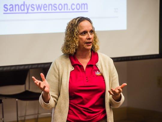 York County Coroner Pam Gay speaks to audience members