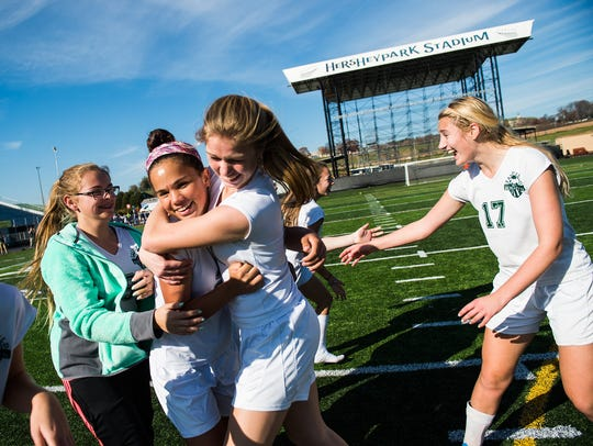 Fairfield's Annabel Anderson is congratulated by teammate