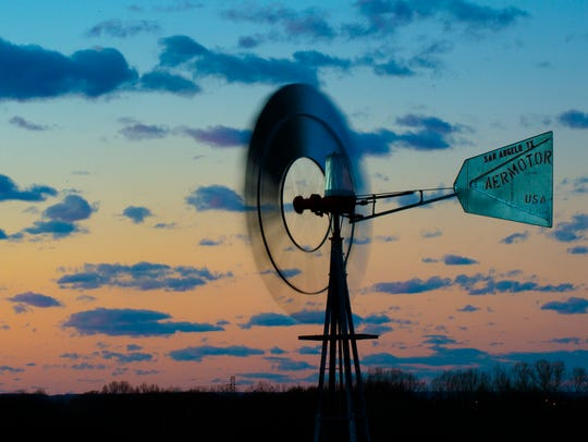 A view of the windmill at EAT South's Farm in downtown
