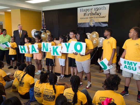 ASU SKYCAP Summer Program students say thanks during the ASU 150th Birthday Celebration event on Monday, July 17, 2017, in Montgomery, Ala.