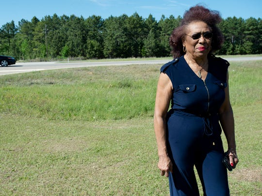 Josephine Bolling McCall visits the site of her father's lynching on Wednesday, April 18, 2018 in Lowndes County, Ala. Elmore Bolling was shot to death during a lynching on Dec. 4, 1947.