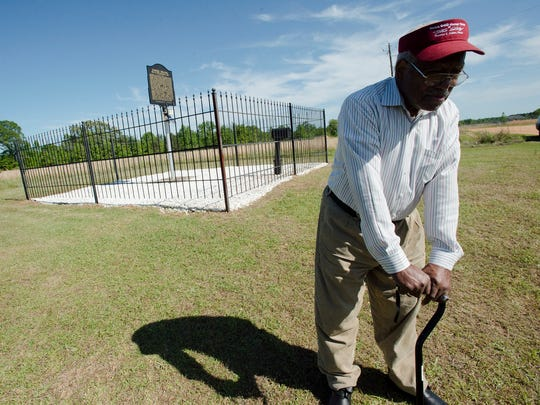 Louis Bolling visits the site of his father's lynching on Wednesday, April 18, 2018 in Lowndes County, Ala. Elmore Bolling was shot to death during a lynching on Dec. 4, 1947.