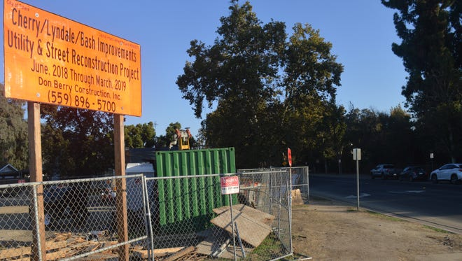 Road construction on Cherry north of Tulare Avenue will continue.