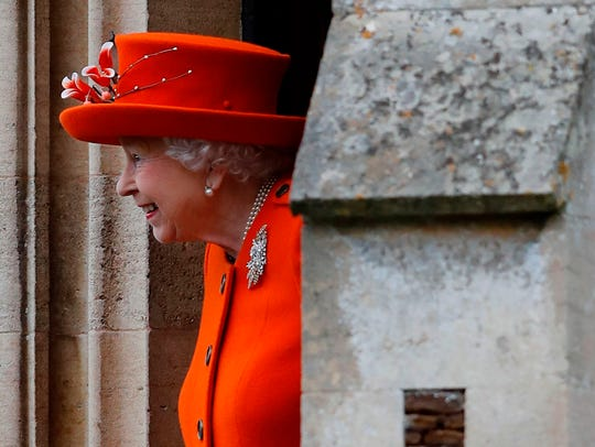 Britain's Queen Elizabeth II leaves the church after