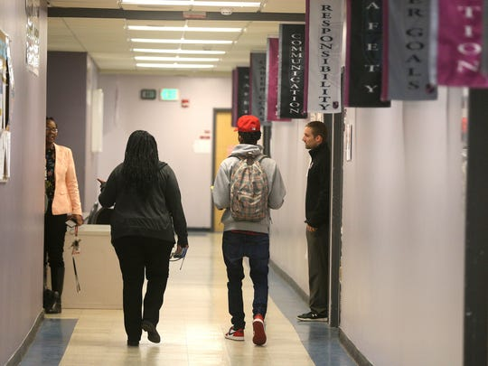 The hallways at Rochester Career Mentoring Charter