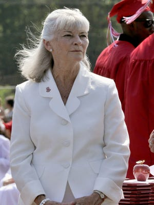 Smyrna Superintendent Deborah Wicks watches as 355 seniors graduate in May 2016. Wicks, who has been with the school district for 40 years, recently announced she is retiring.