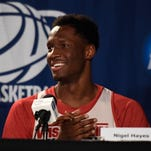 News conferences featuring Wisconsin's Nigel Hayes have made him a popular NCAA tournament figure. The same goes for the stenographers who transcribe his words.