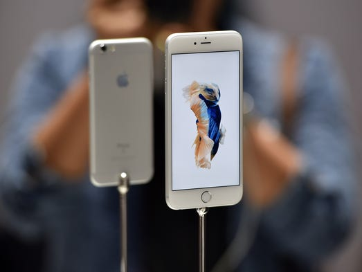 New models of the iPhone 6S are seen displayed during