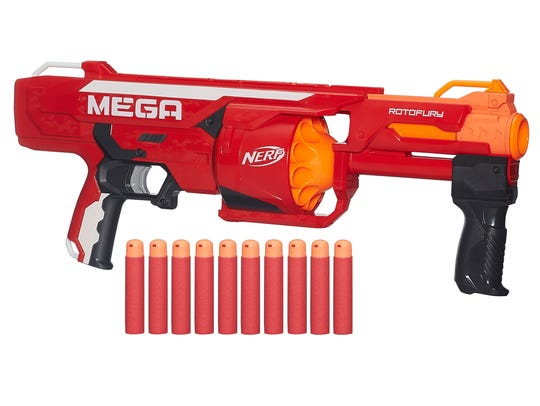 Take aim at your target and blast away with Nerf darts.