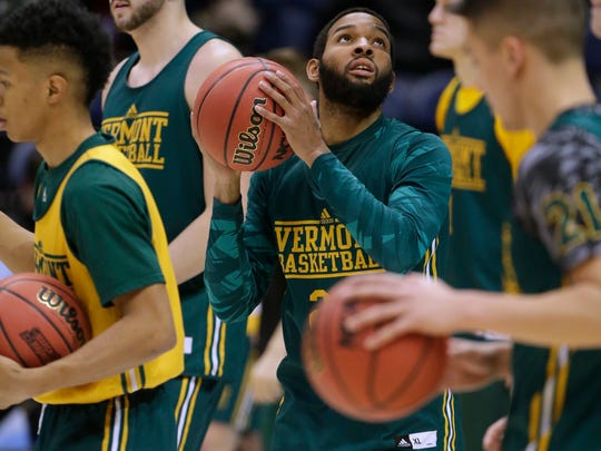 Vermont guard Dre Wills (24) is shown during practice before the first round of the NCAA Division I Men's Basketball Championship Wednesday, March 15, 2017 at the BMO Harris Bradley Center in Milwaukee, Wis.