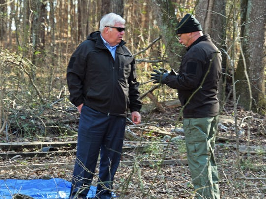 Investigators on the scene where skeletal remains were found in Powdersville on January 17, 2016.