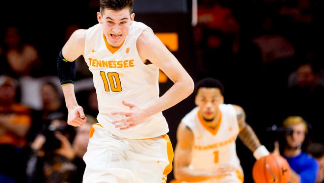 Vols forward John Fulkerson (10) has been slow to come back from injuries.