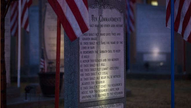 The Bloomfield Ten Commandments memorial is pictured, Monday, Feb. 13, 2017 at Bloomfield City Hall in Bloomfield N.M.