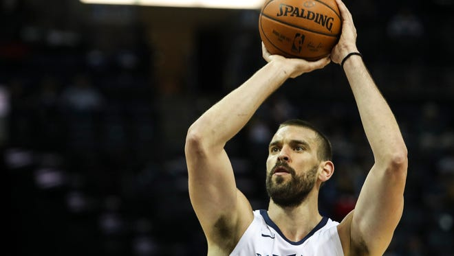 March 09, 2018 - Marc Gasol attempts a free throw during Friday night's game at the FedExForum versus the Utah Jazz.