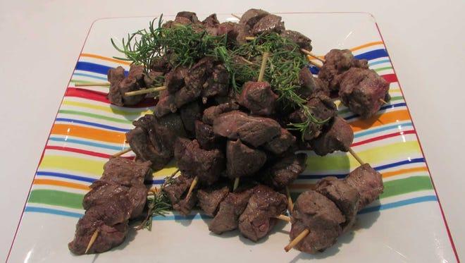 Rosemary pan seared tenderloin skewers