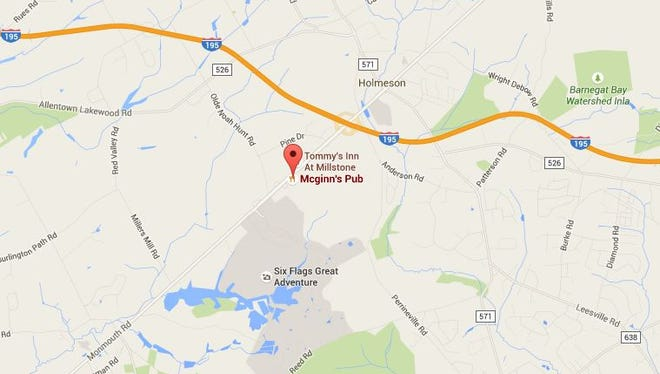 The location of a double stabbing outside of Six Flags Great Adventure in Jackson on Saturday night.