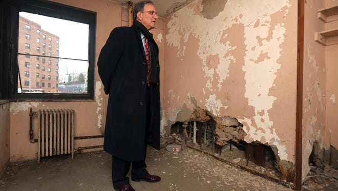 Joseph Shuldiner, the executive director of the Yonkers Municipal Housing Authority, is pictured at the Schlobohm Housing apartment buildings in Yonkers.