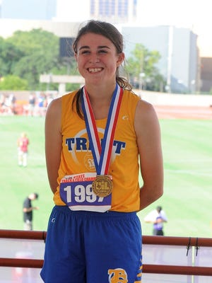 Trent's Baylee Pickens stands on the podium after receiving her Class 1A girls 3,200-meter bronze medal at the UIL State Track and Field Championships at the University of Texas' Mike A. Myers Stadium in Austin on Friday, May 11, 2018.