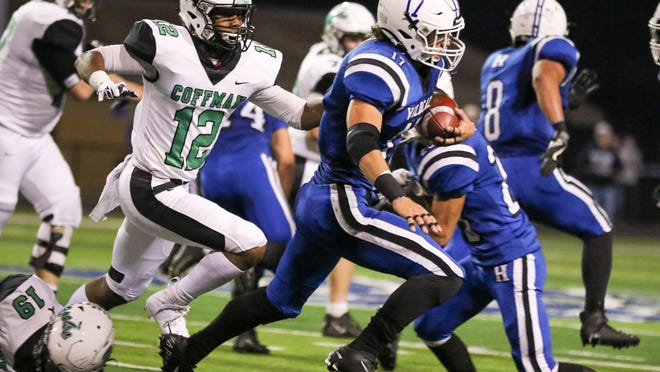 Hilliard Davidson's Nick Dymek (17) intercepts Coffman late as they were marching down the field with under 3 minutes left at Hilliard Davidson High School on October 18, 2019.