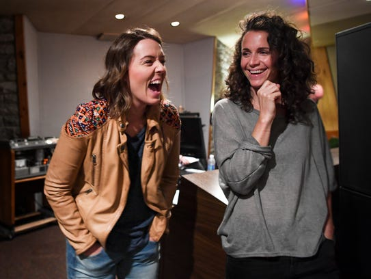 Singer-songwriter Brandi Carlile laughs with her wife