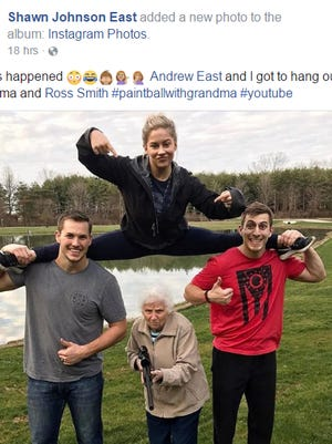 Shawn Johnson East and her husband Andrew East spent the day Monday with social media sensations Ross Smith and his grandma filming a funny clip.