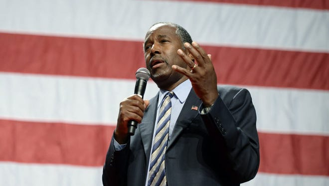 Republican presidential candidate Ben Carson campaigns in Anaheim, Calif., on Sept. 9, 2015.