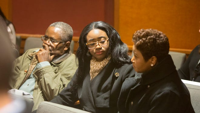 Members of Hyphernkemberly Dorvilier's family, including her mother Juana Sully (right) sit in the back of the courtroom during her initial court appearance via teleconference at the Burlington County Courthouse in Mount Holly Tuesday, Jan. 20.