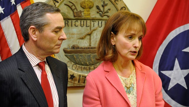 House Speaker Beth Harwell, R-Nashville, right, with Rep. Glen Casada, announced the creation of a new committee Thursday tasked with investigating allegations involving Rep. Jeremy Durham. Although the Tennessee attorney general will assist in the investigation, it no longer appears the office will lead the investigation as Harwell said previously.