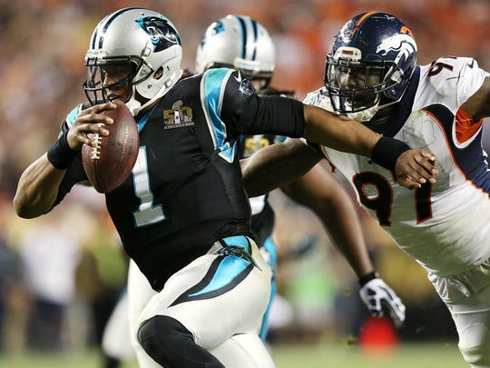 Denver's defense kept Carolina quarterback Cam Newton on the run during most of the Super Bowl.