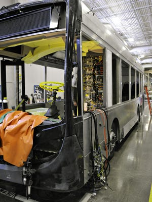 The first MiDi bus to be assembled at the St. Cloud New Flyer plant is shown April 4, 2014.