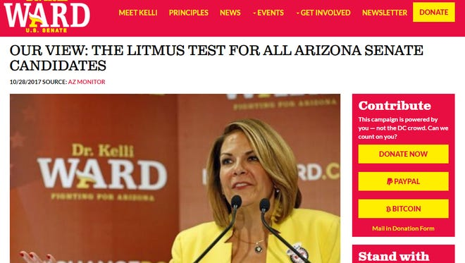An Arizona Monitor editorial was posted on the campaign website for U.S. Senate candidate Kelli Ward.