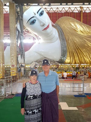 Barbara and Bob Nowikowski of Bloomfield Hills took the D to the Chaukhtatgyi Buddha Temple in the Yangon Region of Myanmar in February. It is home to one of the most revered reclining Buddha images in the country. In order to enter the temple, visitors must be barefoot and must have their legs and shoulders covered.