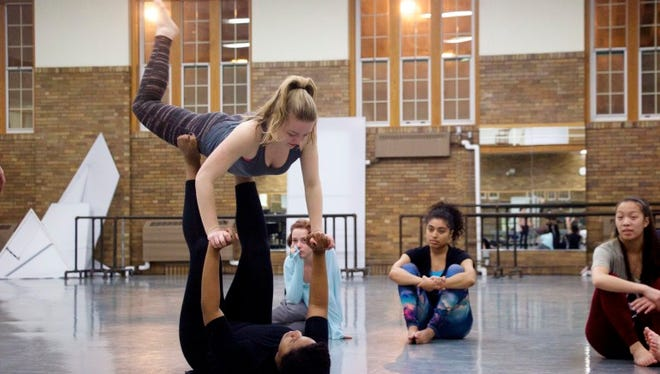 """Members of the 2016 University of Iowa Dancers in Company troupe practice during a Feb. 11 rehearsal for their upcoming """"Water Works"""" program, which features six dances themed around water."""