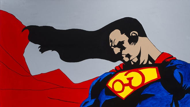 """""""(Su)perman,"""" by Tom Farris (Otoe-Missouria/Cherokee).  The acrylic on canvas painting, created in 2014, is part of the exhibit """"Super Heroes: Art! Action! Adventure!"""" at the Heard Museum."""