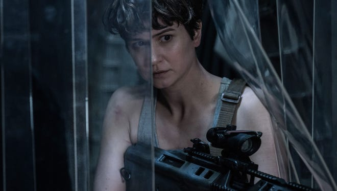 Katherine Waterston tries to stay alive with a dangerous creature on the loose in 'Alien: Covenant.'