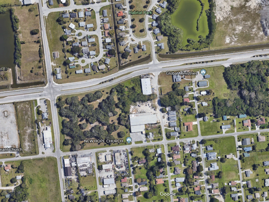 A Google Earth view shows feeder roads to businesses